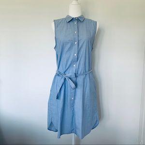 J. crew factory blue oxford sleeveless shirt dress
